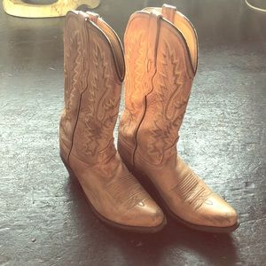 Tan Leather Old West Brand Womens Boots Size 7